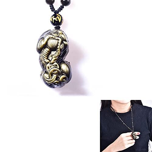 Collar con Colgante Pixiu De Cabeza De DragóN De Obsidiana, Piedra Tallada La Suerte Diosriqueza, Regalo De Cuello con Cuentas para Hombres Y Mujeres 1pcs 30mm