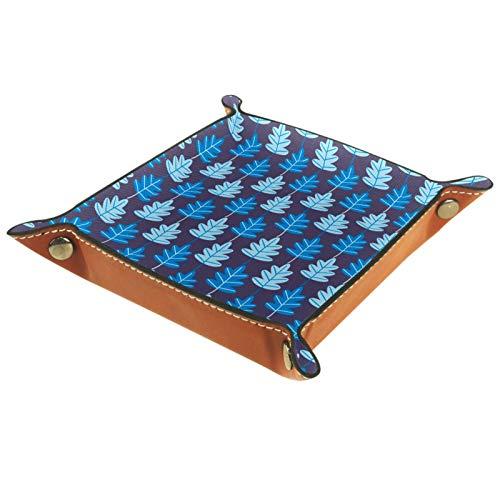 ATOMO Bandeja de almacenamiento de cuero serie azul minimalista hojas clave joyería moneda catchall Sundries organizador cabecera pequeña bandeja clave teléfono joyería almacenamiento