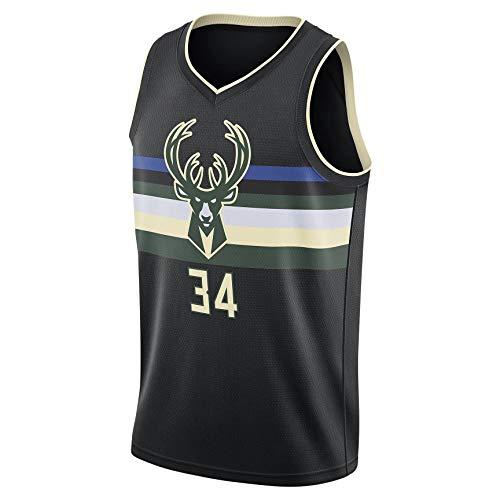 JKHKL Camiseta De Baloncesto para Hombre, Bucks # 34 Antetokounmpo Camiseta De Baloncesto, Chaleco Deportivo Unisex De PoliéSter Que Absorbe El Sudor, Transpirable Y CóModo. XL Black