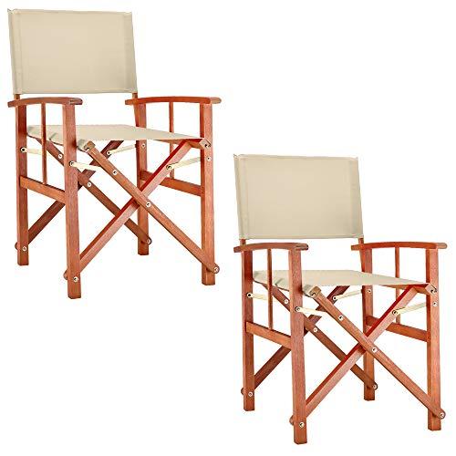 Deuba® 2X Gartenstuhl Cannes FSC®-zertifiziertes Eukalyptusholz faltbar Klappstuhl Holz Stuhl Regiestuhl Beige