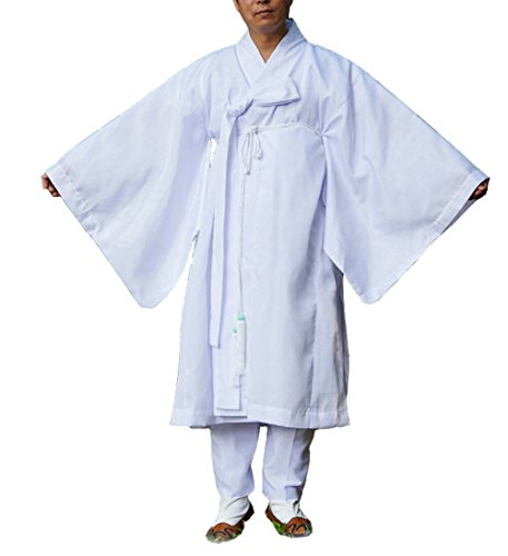 Altair Men Water Silk Robe, Korea Traditional Men Clothing Dopo, Halloween Costumes (White, XL)