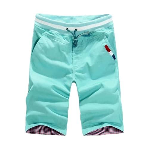 Herren-Shorts, legere Shorts, Sommerhose, elastische Taille, knielang, männlich, grün, XXL