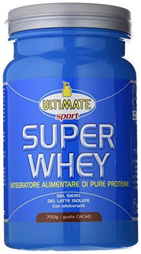 Super Whey - Proteine Del Siero Del Latte Isolate E Microfiltrate – Whey purissime - Integratore Di Proteine con Leucina. Vitamine B2,B6 ed enzimi – Gusto Cacao – 700 g – Ultimate Italia