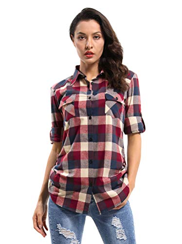 Phorecys geruite shirt dames, geruit blouse Roll up mouw Button Down flanel Shirt UK 6-22