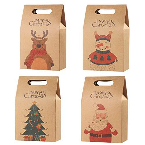 Hemoton Lot de 16 sacs cadeaux de Noël en papier kraft durable pour emballage cadeau, bonbons, chocolats, biscuits, aliments pour fêtes de Noël