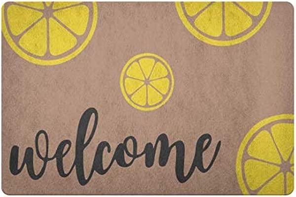 LiliGift Personalized Doormat Lemon Front Doormat Door Mat Coir Doormat Porch Decor Housewarming Gift Rug