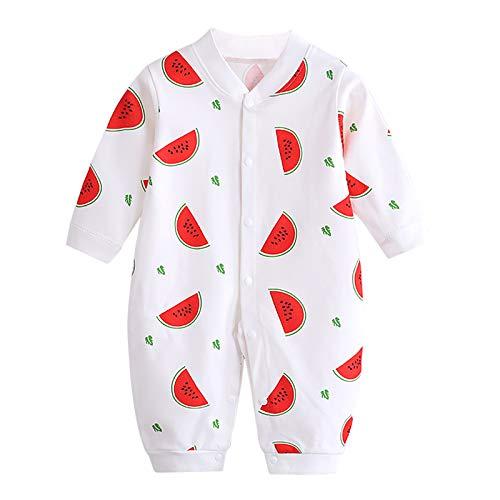 JinBei Mono Pijama Recien Nacido Pelele Bebé Niñas Mameluco Algodon Sleepsuit Mamelucos Manga Larga Caricatura Trajes Pijamas, Impresión de Sandía Roja 0-3 Meses