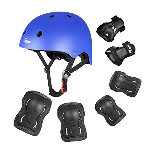JBM Presents Special Multi Sport Protective Gear Knee Pads and Elbow Pads with Wrist Guards for Cycling, Skateboard, Scooter, BMX, Bike (Blue and Dark, Kids/Children)