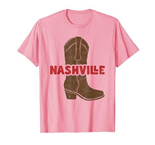 Nashville Cowboy Boot Spur Guitar Distressed T-Shirt