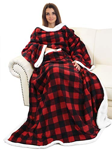 Tragbare Plaid Kariert Sherpa Decke mit Ärmeln, superweiche, warme, bequeme, große TV-Decke mit Fleece-Plüschärmeln und Wickelroben für Erwachsene, Frauen und Männer, kariertes Red Buffalo