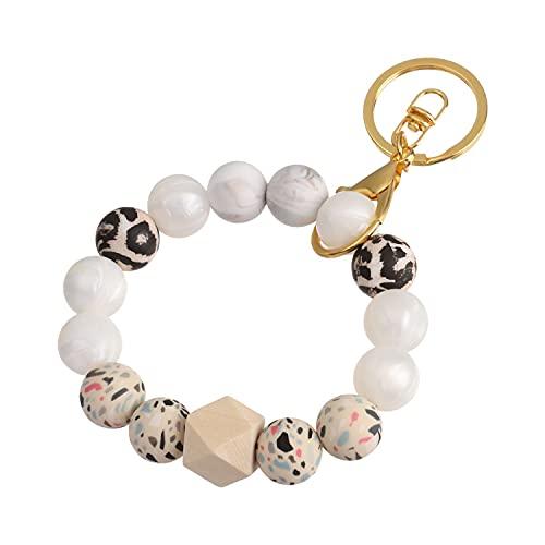 genenic Silikon Armband Schlüsselanhänger Wristlet Armreif Schlüsselanhänger Tragbarer Haus Autoschlüssel Ring Halter Einzigartiger Stilvoller Perlen Schlüsselanhänger für Frauen (B)