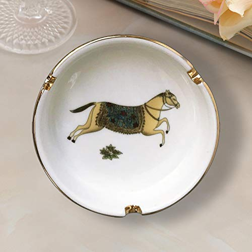 Cenicero de porcelana europea para cenicero de lujo para el hogar y fumar accesorios decorativos para caballo pequeño mejor regalo para novio día del padre caballo