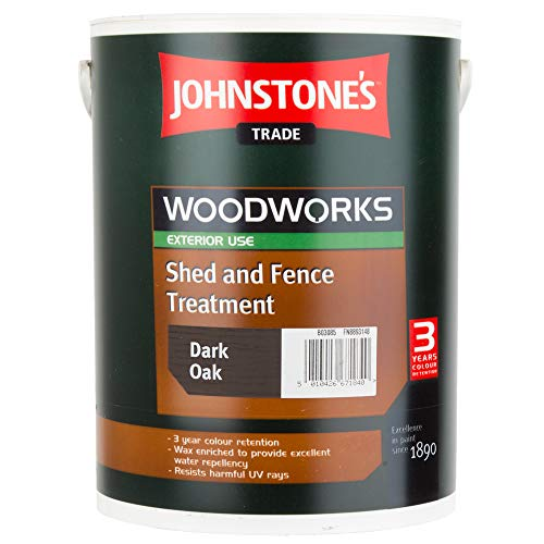 5 LTR JOHNSTONE'S WOODWORKS SHED & FENCE QUICK DRY WOODSTAIN DARK OAK