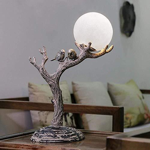 DKEE Lámpara de mesa Natural, vintage, nuevo-clásico resina natural de la lámpara de escritorio de madera estimulada, luz nocturna LED con esfera de vidrio Pantalla, tronco de árbol y lámparas de aves