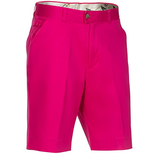 Royal & Awesome Men's Solid Colour Golf Shorts, Pink Ticket, 34W