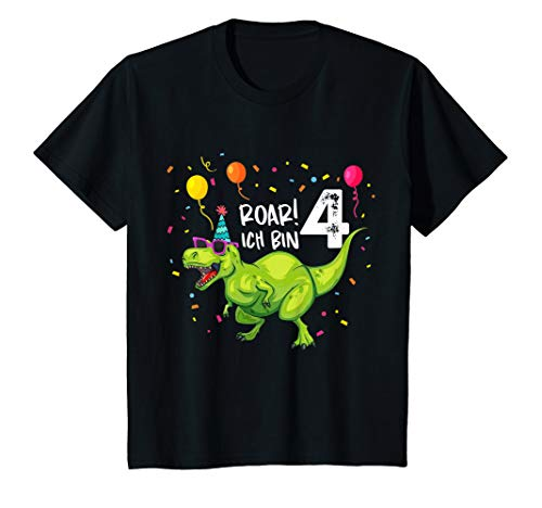Kinder Geburtstagsshirt 4 Jahre Junge Dinosaurier Dino Ich bin 4
