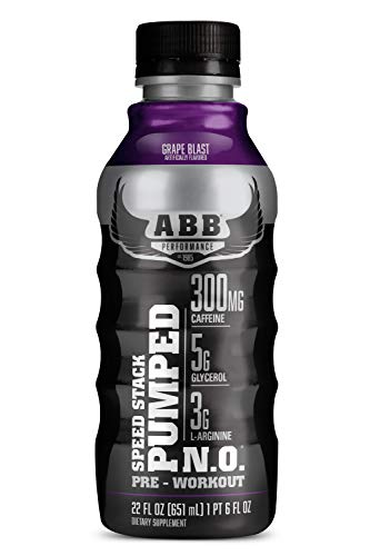 American Body Building (ABB) Speed Stack Pumped N.O., Pre-Workout Energy Shake, High Caffeine and Performance with Zero Sugar, Grape Flavored, Ready to Drink 22 oz Bottles, 12 Count