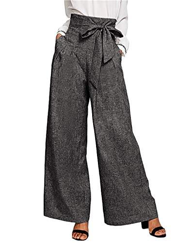 CNFIO Pantalones Mujer Casuales de Cintura Alta de Mujeres Pantalón Elegantes con cinturón de Cintura Alta Decorado con Lazo