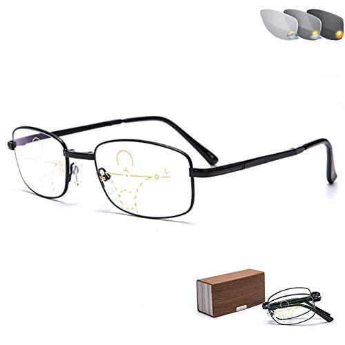 ZHANGYY Read Optics Faltbare Lesebrille, intelligente photochrome Sonnenbrille für den Innen- und Außenbereich, kompakte Faltbare Brille mit hochklappbaren Teleskoparmen