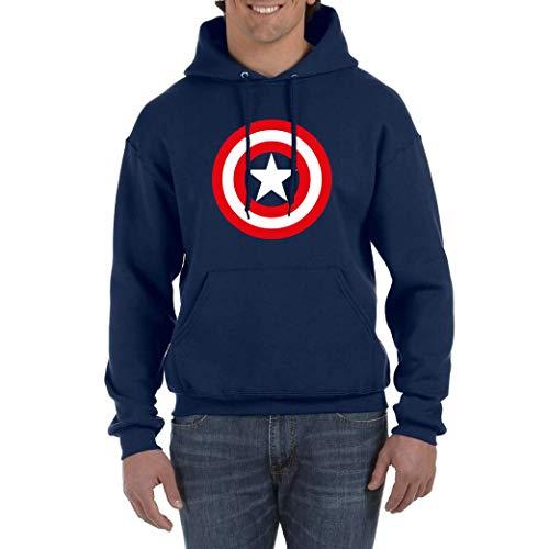 Desconocido Capitan Steve Rogers First Avenger - Sudadera Hombre Azul Navy con Capucha (Azul Marino, L)