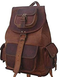 TUZECH Pure Leather Brown Travel Casual Ladies Leather Backpack