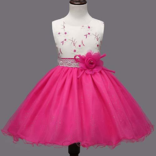 GHTWJJ Meisjes Avondjurken Meisje Gala Bruiloft Prinses Jurk Children's Bloem Gaas Rok Roze Groen Mouwloos