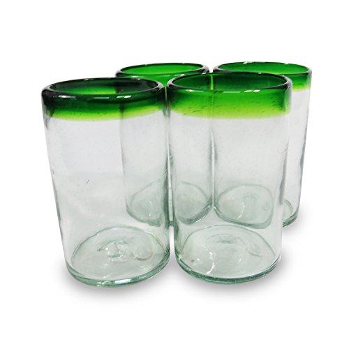 Gobelet en verre mexicain – Fabriqué à la main au Mexique (4 gobelets) (vert)