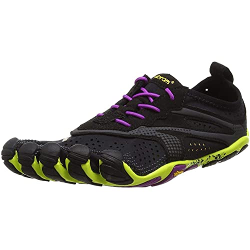 Vibram Women's V Running Shoe, Black/Yellow/Purple, 37 EU/5.5-6 US