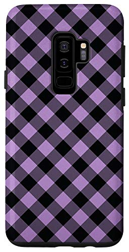 Galaxy S9+ Purple Black Plaid Checkered Checker Gingham Squares Pattern Case