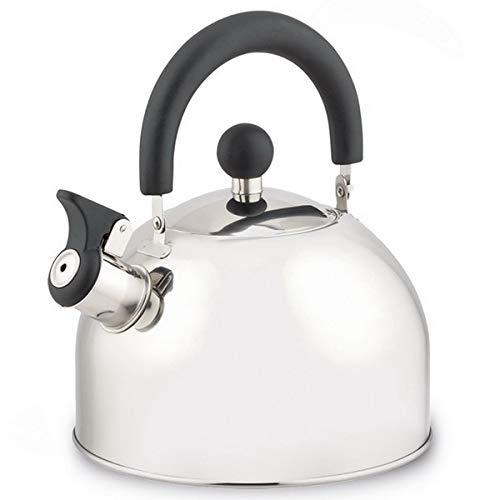 Michelino - Tetera de acero inoxidable con silbato plegable, apta para inducción, plata, 2,0 litros