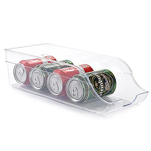 PLASTIFIC Fridge Organiser Clear Plastic Storage Refrigerator Drinks Cans Fruit Veg Holder (35.5 x 15 x 10 cm)