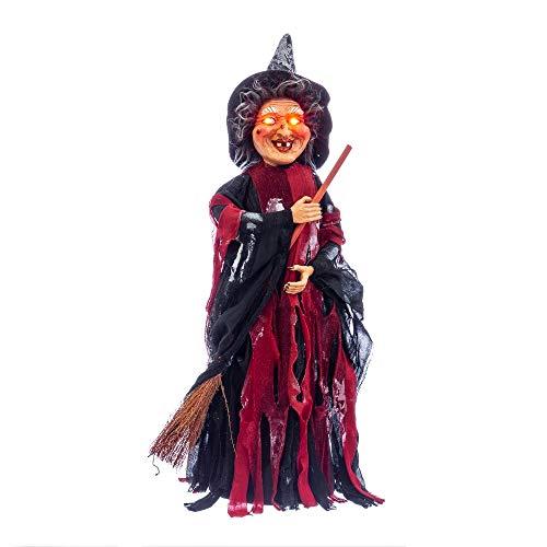 Bruja con Escoba con luz y Sonido de Halloween roja de 40x15
