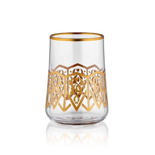 Koleksiyon Kleines Wasserglas zum Kaffee mit Goldrand und seldschukischer Goldverzierung 120 ml 6er Set