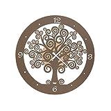 Arti & Mestieri Albero della Vita - Orologio Piccolo da Parete di Design 100% Made in Italy - in Ferro, Diametro 44 cm - Oro Laccato e Bronzo