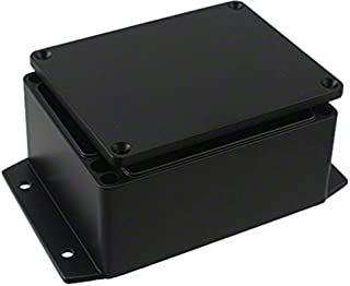BUD Industries AN-2854-AB Black Powder Coated IP68 Aluminum 4.53x3.54x2.17 enclosure with molded in mounting brackets