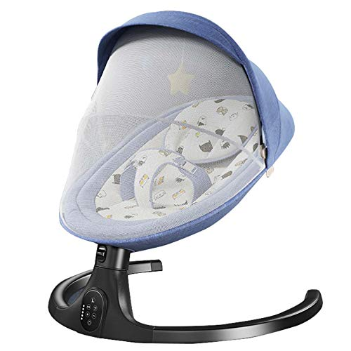 Baby Cradle Swing Electric Stand, Baby Crib Cradle Auto Rocking Chair Newborns Bassinets Sleep Bed, Rocking Music Remoter Control Sleeping Basket Bed Newborns Sway Baby Swing,Blue