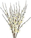NAHUAA 4Pcs Ramas Artificiales 60cm de Flor de Cerezo Tallos de Flores Falsas Blanco para CasaJardín Oficina de Fiesta Dormitorio Decoración de La Boda Mesa Centros de Mesa