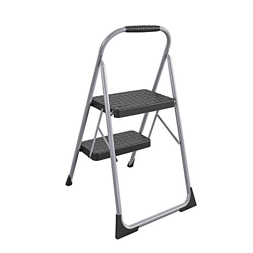 Cosco Two Step Big Step Folding Step Stool with Rubber Hand Grip, Grey Gray