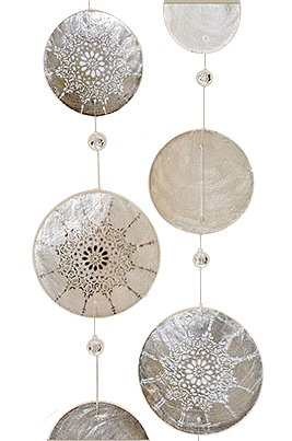 Home Collection 2er Set Capiz-Girlande 180cm Windspiel Dekoration Perlmutt