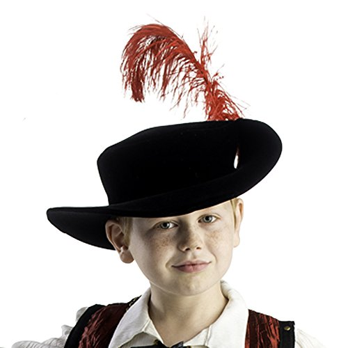 Dress Up America Chapeau de mousquetaire de garçons Plume rouge