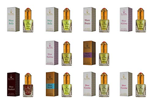 Damen Duftset - 10x 5ml Parfum (FEIN & FEMININ) - El Nabil Misk Musk Moschus - Parfüm Öl für Frau - Hochwertig & Top Damen Düfte - Scent Attar Adn Al Rehab Karamat Al Haramain