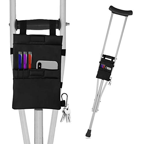 FunCee Crutch Pouch Bag, Lightweight Washable Crutch Storage Bag with 2 Pockets for Phones, Keys, pens, Water Bottle and Even Food Bag