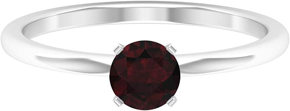 Rosec Jewels - 0.60 Garnet Solitaire Ring, Simple Gold Engagement Ring (AAA Quality), 14K Gold