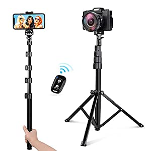 UBeesize 54-inch Selfie Stick Tripod, Detachable and Extendable Phone Tripod for Cell Phone, Compatible with Smartphone, Includes Wireless Remote, Cell Phone Holder and Gopro Adapter