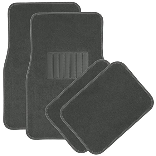 OxGord 4pc Full Set Carpet Floor Mats, Universal Fit Mat for Car, SUV, Van Trucks - Front Rear, Driver Passenger Seat Charcoal