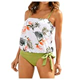 OutTop Women's Floral Swimsuits Printed Two Piece Knotted Side Tops Strap Tankini Bathing Suits Beachwear Sets (White, M)