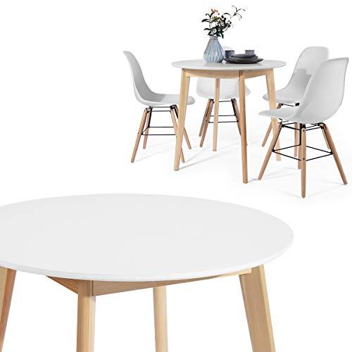 HOMYCASA Mesa Redonda / Mesa Cuadrada Moderna Mesa Comedor 80 cm Cocina Comedor Muebles para 4 Personas (Madera Blanca), Madera de diseño, redondo