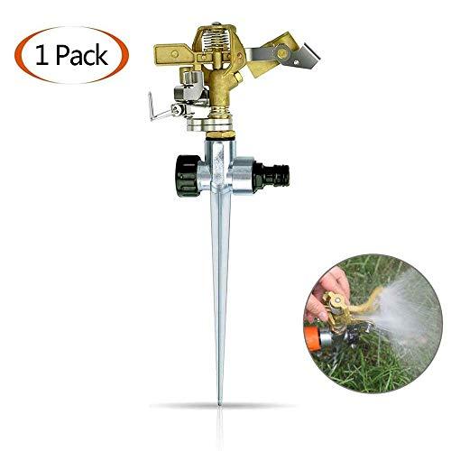 LLSS Arroseur de Jardin, système d'arrosage de pelouse en Laiton avec Piquet de Terre, Irrigation rotative réglable à 360 ° de Grandes Surfaces jusqu'à 700 m