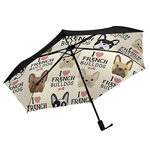 Oyihfvs I Love French Bulldogs Seamless Vintage Style Inner Print Folding Umbrella, Strong Lightweight Travel Rain Umbrella, Portable Compact Sun Parasol with UV Protection