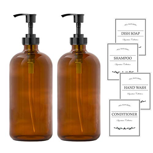 Sunrise Premium Empty Amber Glass Pump Bottles Glass Soap Dispenser 16 Oz Pack of 2 Refillable Containers for Bathroom Kitchen Counter-top for Soap Lotion Shampoo Essential Oil